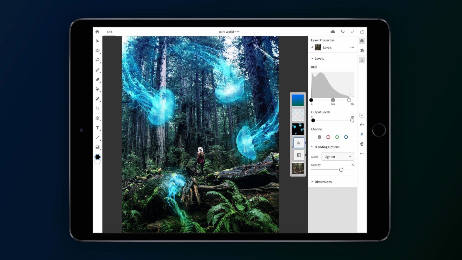 Adobe comes up with Photoshop for iPad. Features not at par with desktop version.
